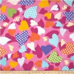 Printed Fleece Dotted Heart Pink