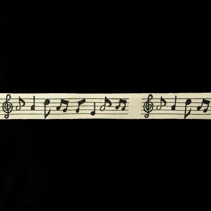 3/4'' Woven Ribbon Music Notes Ivory