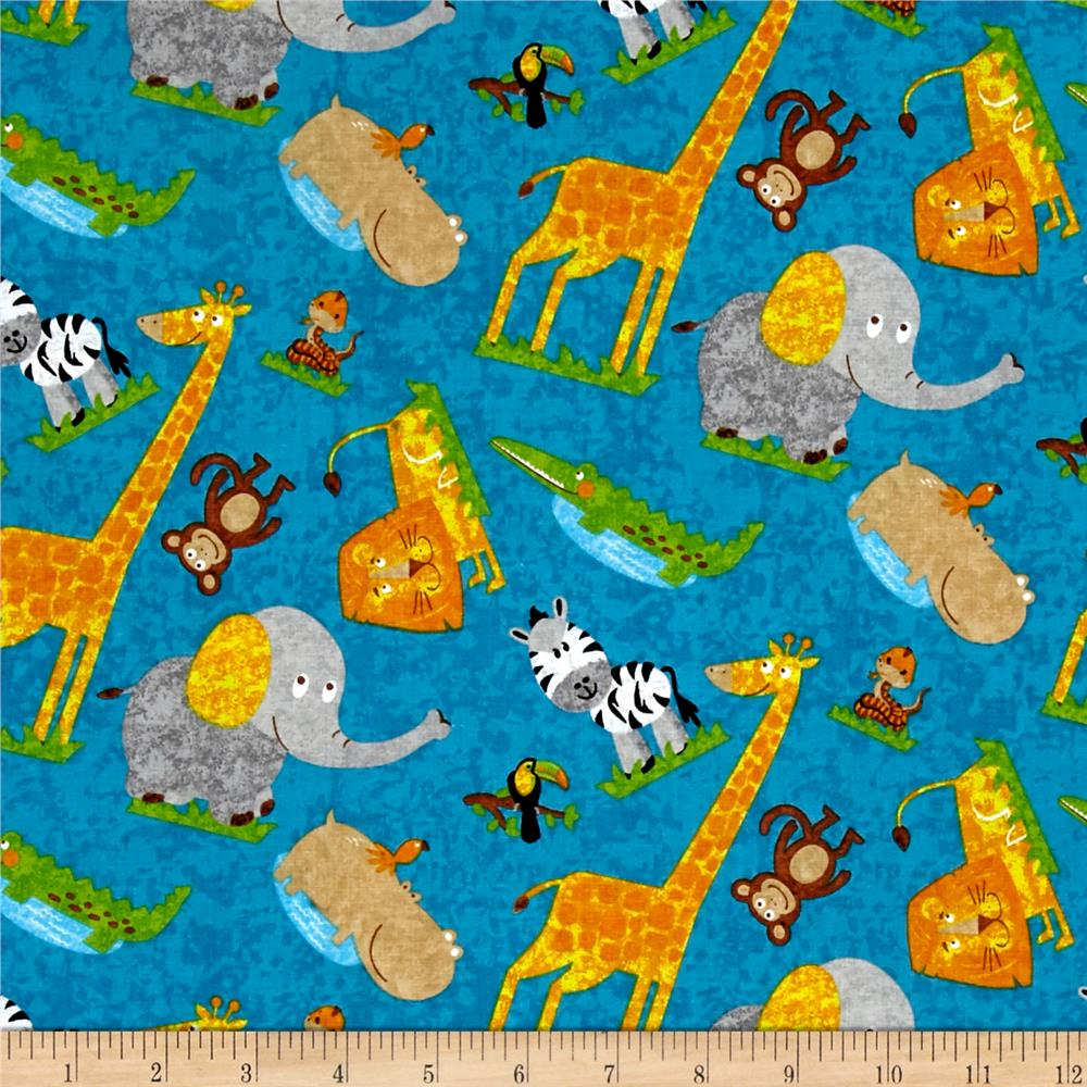 Safari Expedition Tossed Mixed Animals Blue
