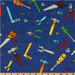 Camelot Flannel Tools Blue