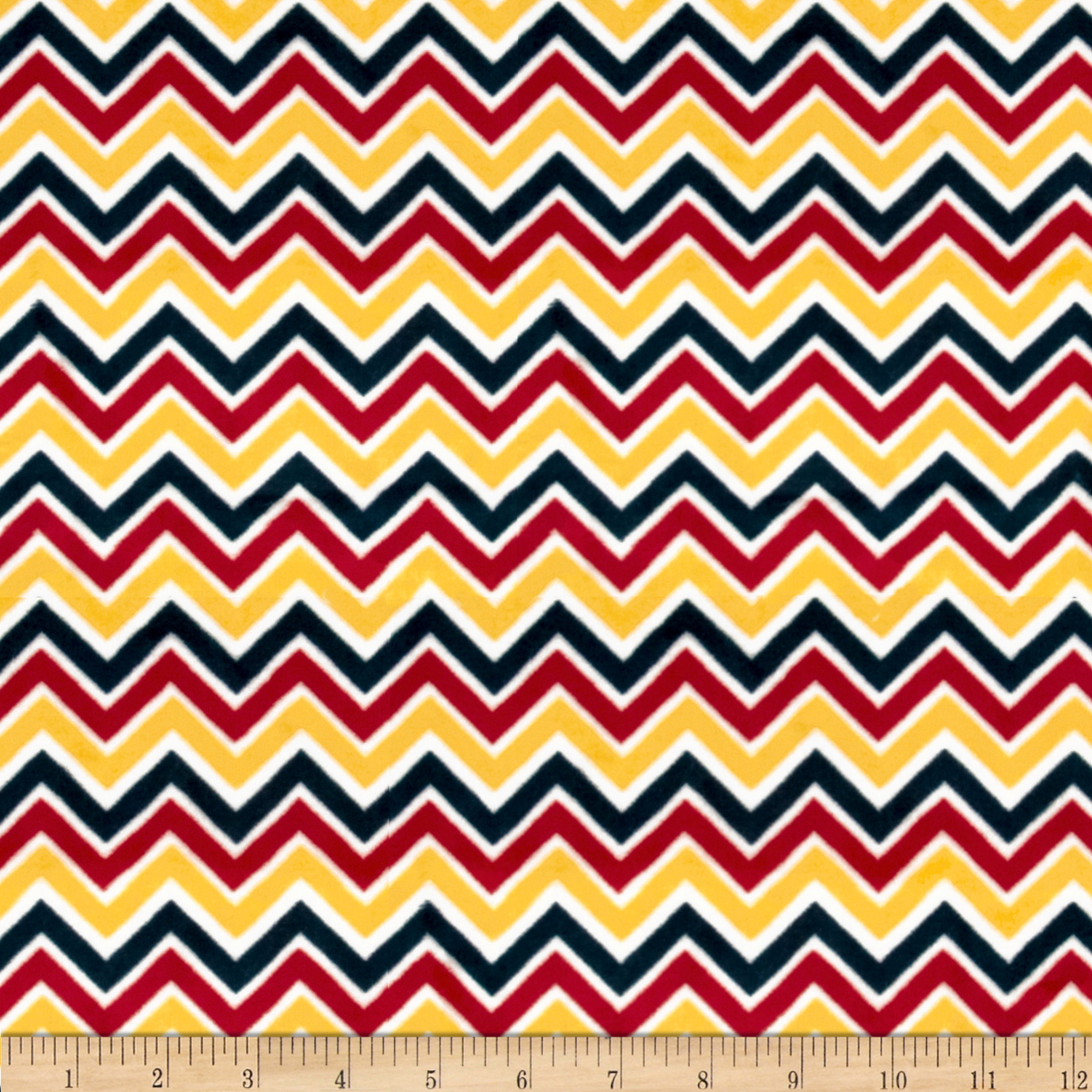 Minky Cuddle Classic Mini Zig Zag Red/Sunshine/Slate Fabric