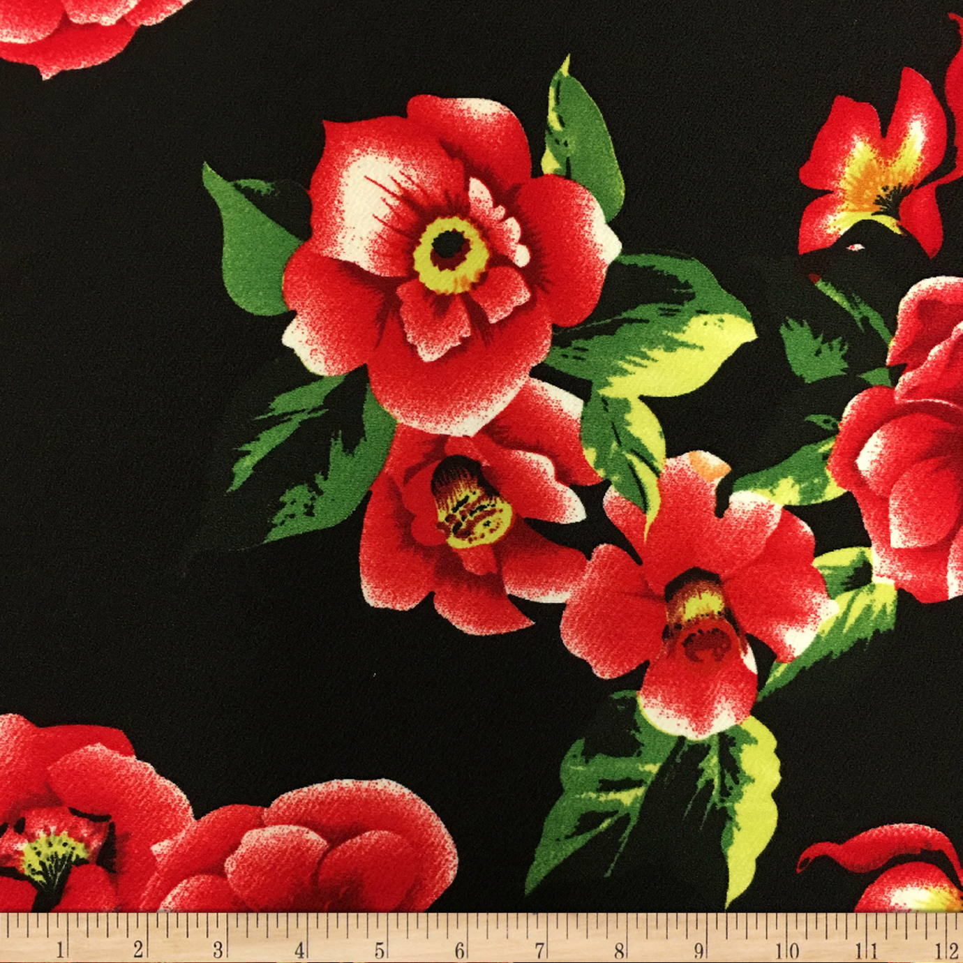 Liverpool Double Knit Winter Roses Black Fabric 0571409