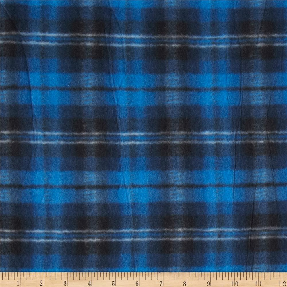 printed fleece plaid royal blue black discount designer fabric. Black Bedroom Furniture Sets. Home Design Ideas
