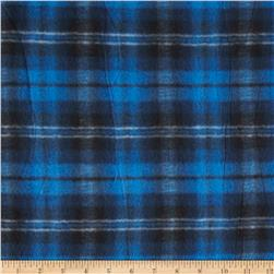 Printed Fleece Plaid Royal Blue/Black Fabric