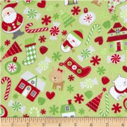 Riley Blake Home for the Holiday's Flannel Main Green