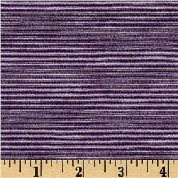 Stretch Rayon Blend Yarn Dyed Jersey Knit Stripe Purple/White