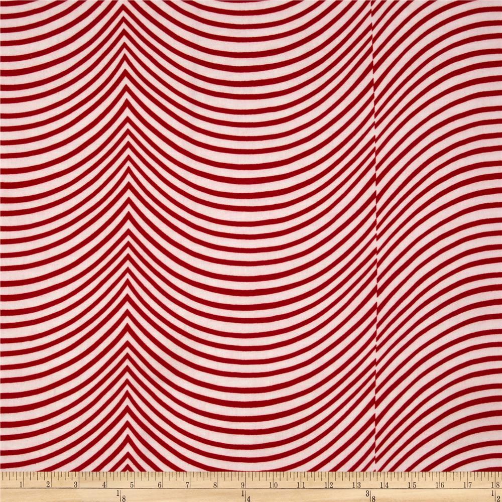 Designer Rayon Shirting Stripe Red
