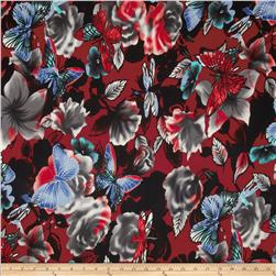 Venice Jersey Knit Butterfly Floral Red/Black