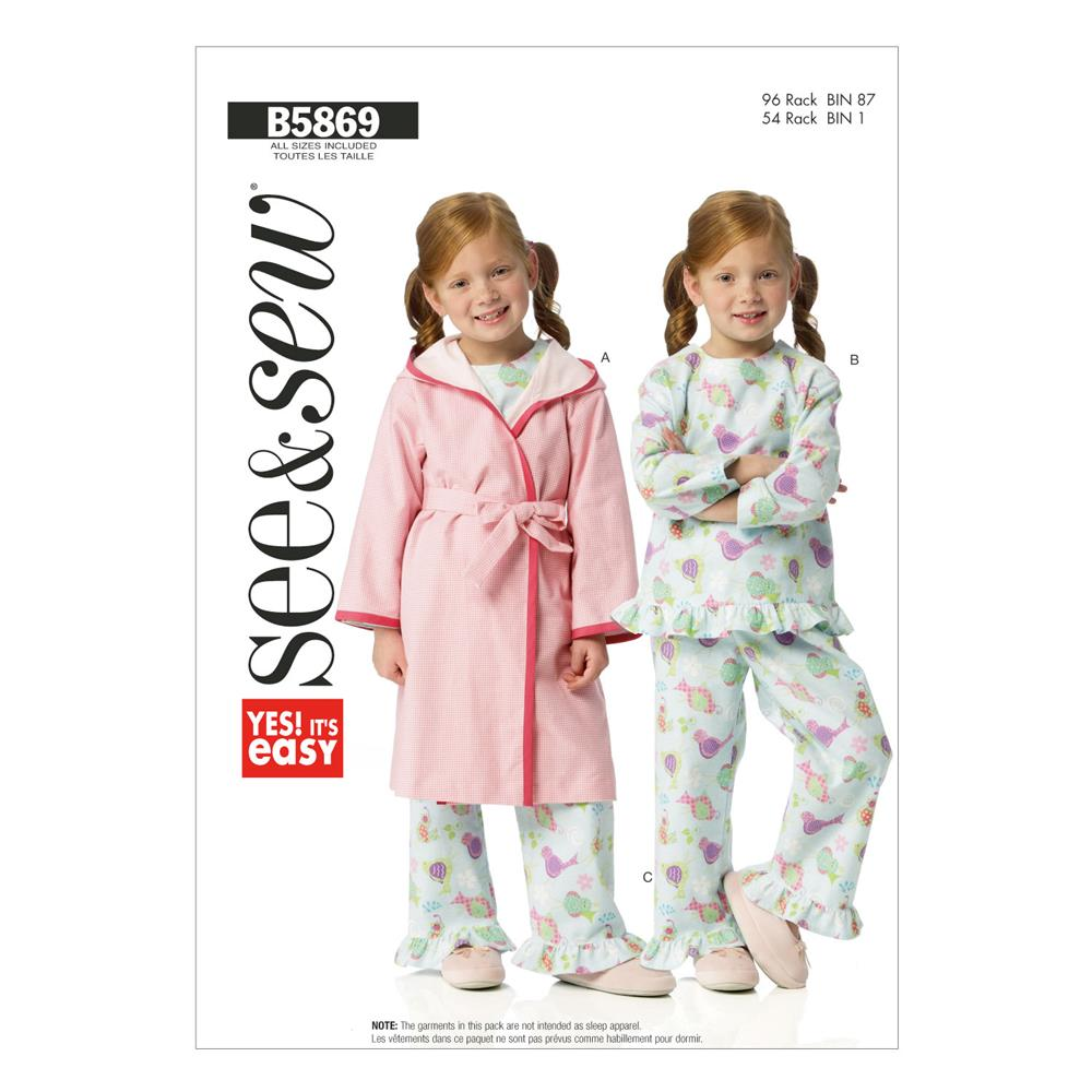 Butterick Toddlers' Robe, Belt, Top and Pants Pattern B5869 Size 0A0