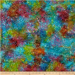 Indian Batik Cascades Swirl Circle Aqua Multi