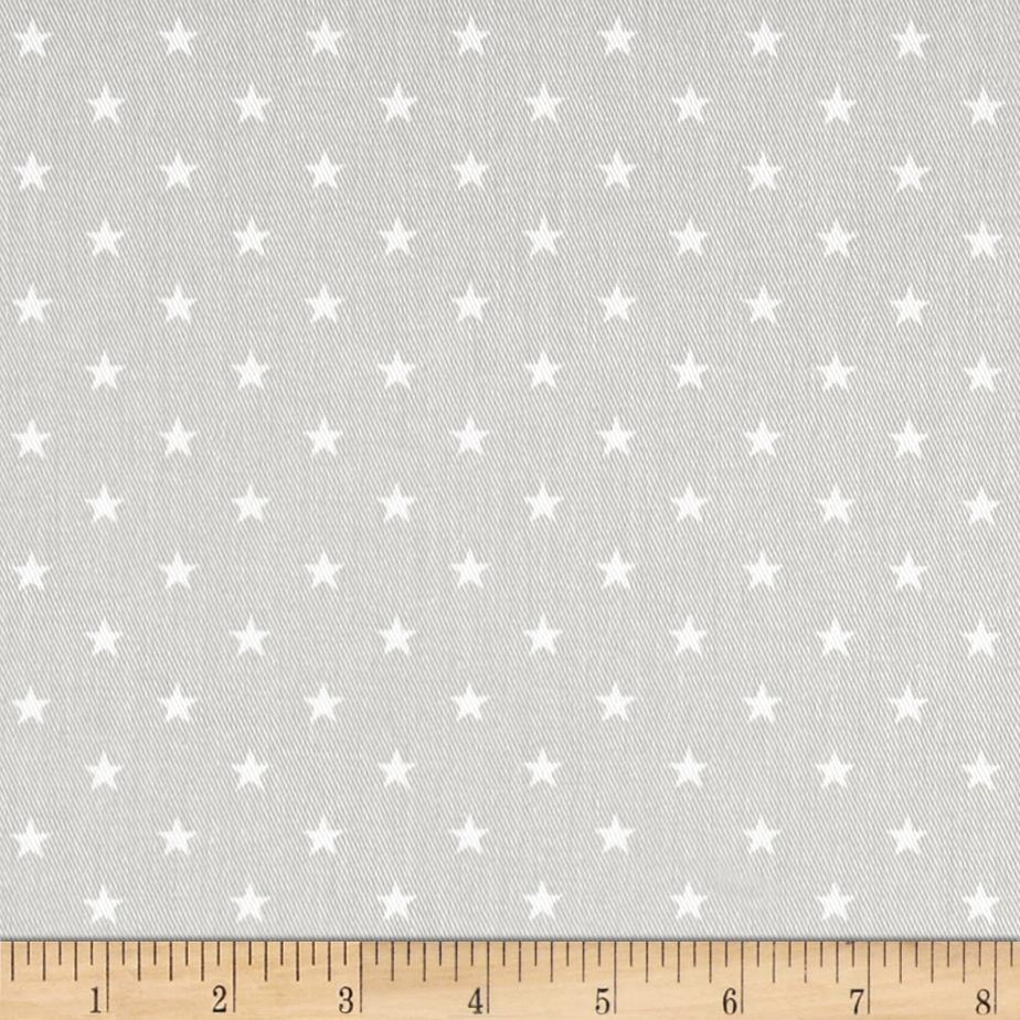 Premier Prints Mini Star Twill French Grey/White