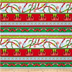 Naughty Or Nice Stripe White/Red Fabric