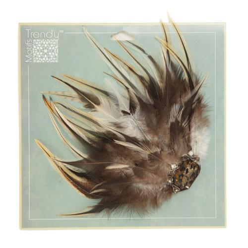 Jeweled Starburst Feather Brooch Golden Brown