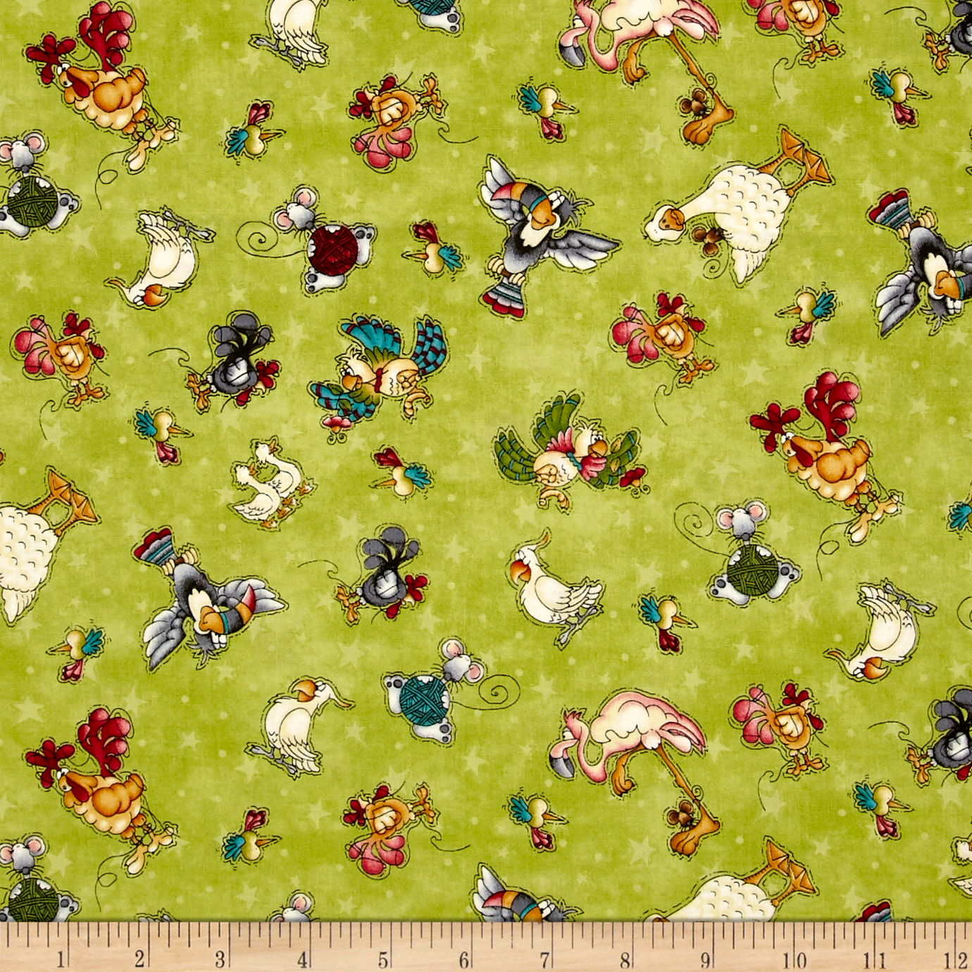 Image of No Fowl Play Small Character Toss Green Fabric