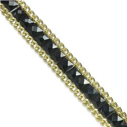 "1/2"" Rhinestone & Glass Chain Banding Black"