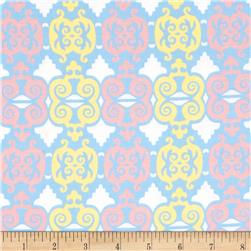 Arianna Damask Trellis White/Multi Fabric