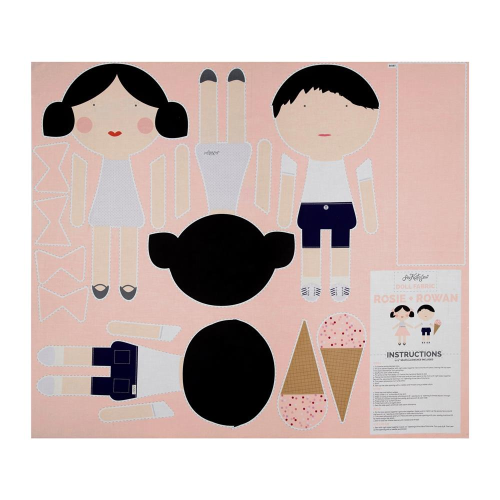 Riley Blake Doll Fabric 36'' Panel Pink