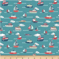 Riley Blake Fly Aweigh Boat Teal Fabric