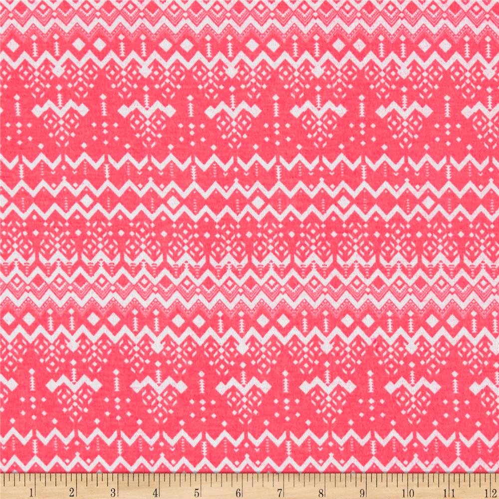 Stretch Poly Spandex Jersey Knit Geo Chevron and Geo Pine Trees on Neon Pink