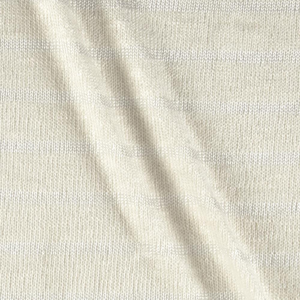 Open Weave Sweater Knit Stripes Pearl White/Ivory