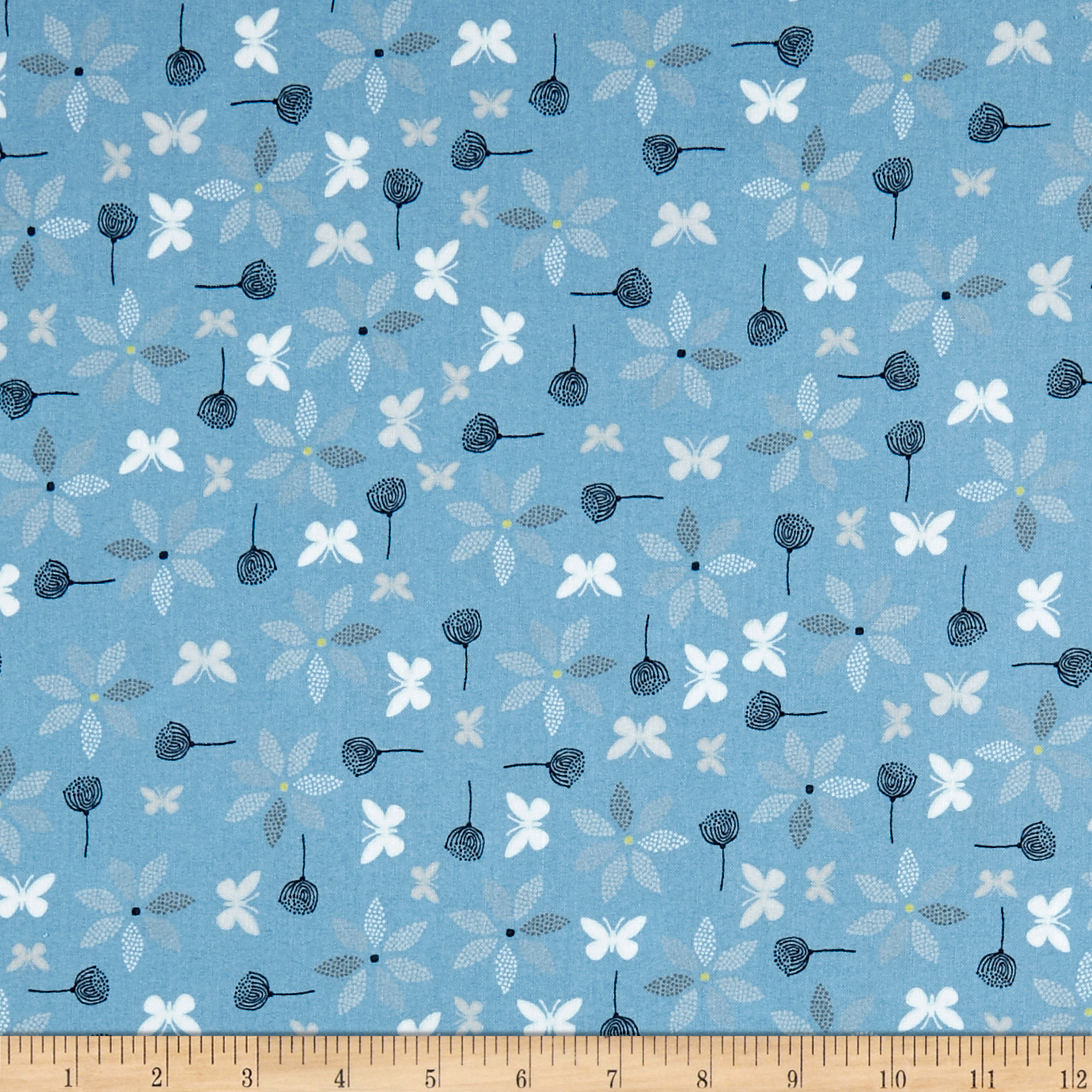 Stof Fabrics Denmark Hollie's Flowers Butterlies & Flowers Blue