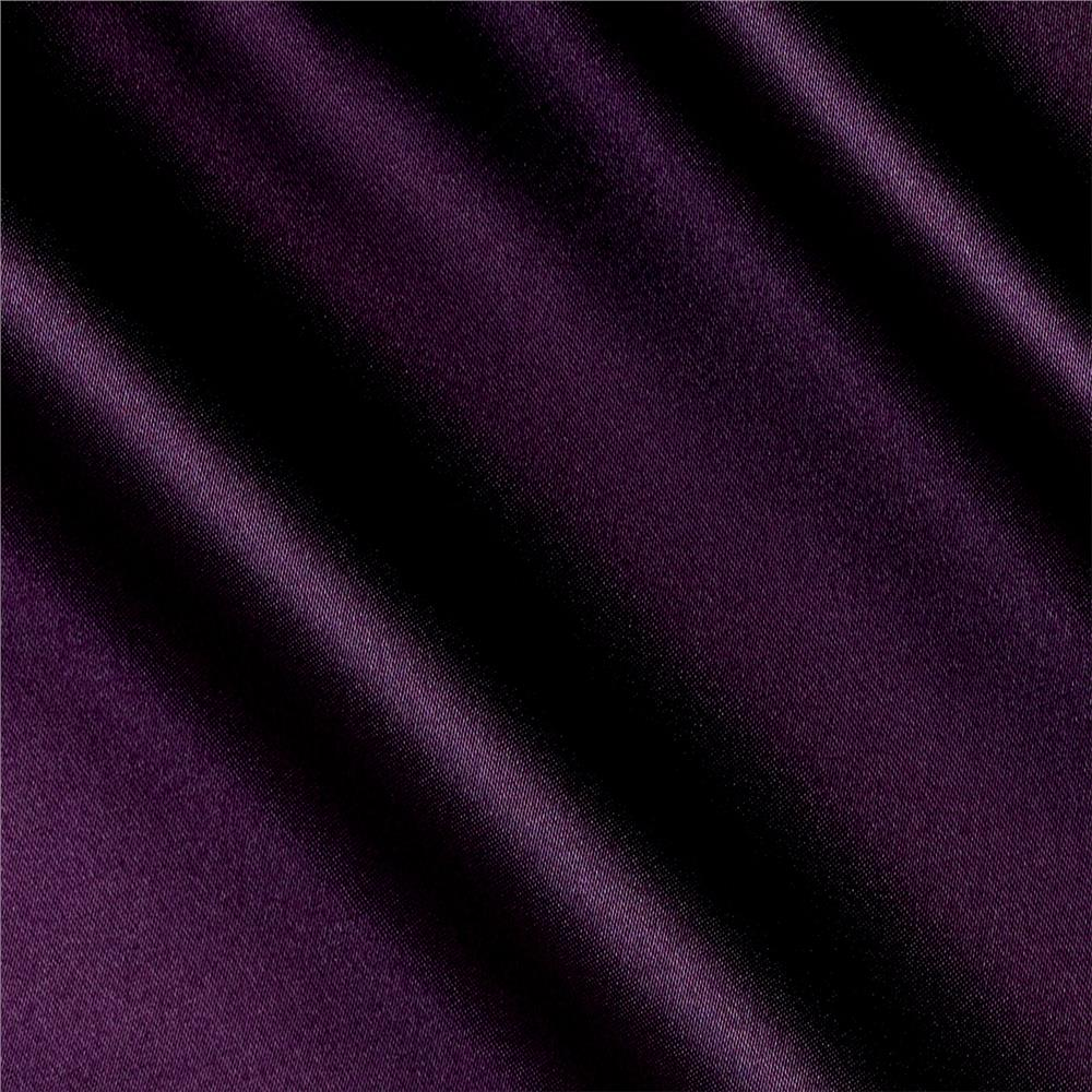 Silky Satin Charmeuse Solid Dark Plum Fabric By The Yard