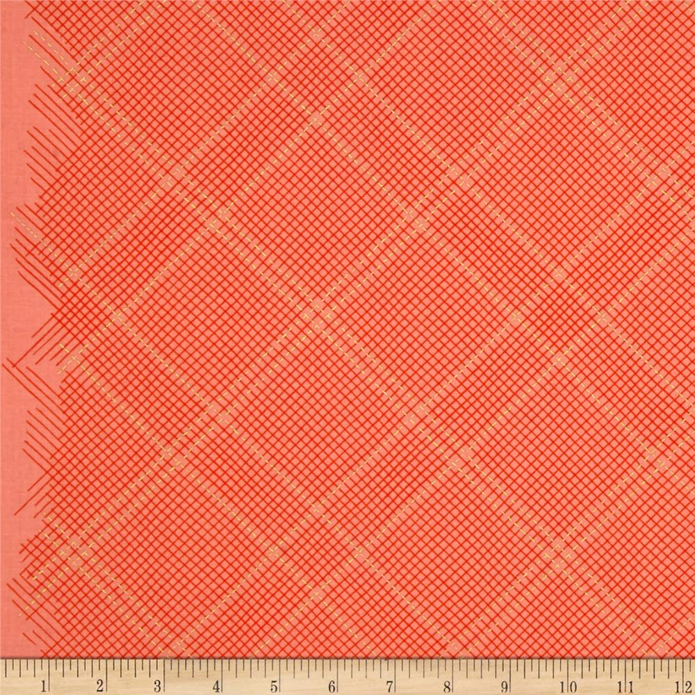 Kaufman Carkai Metallic Diagonal Plaid Creamsicle