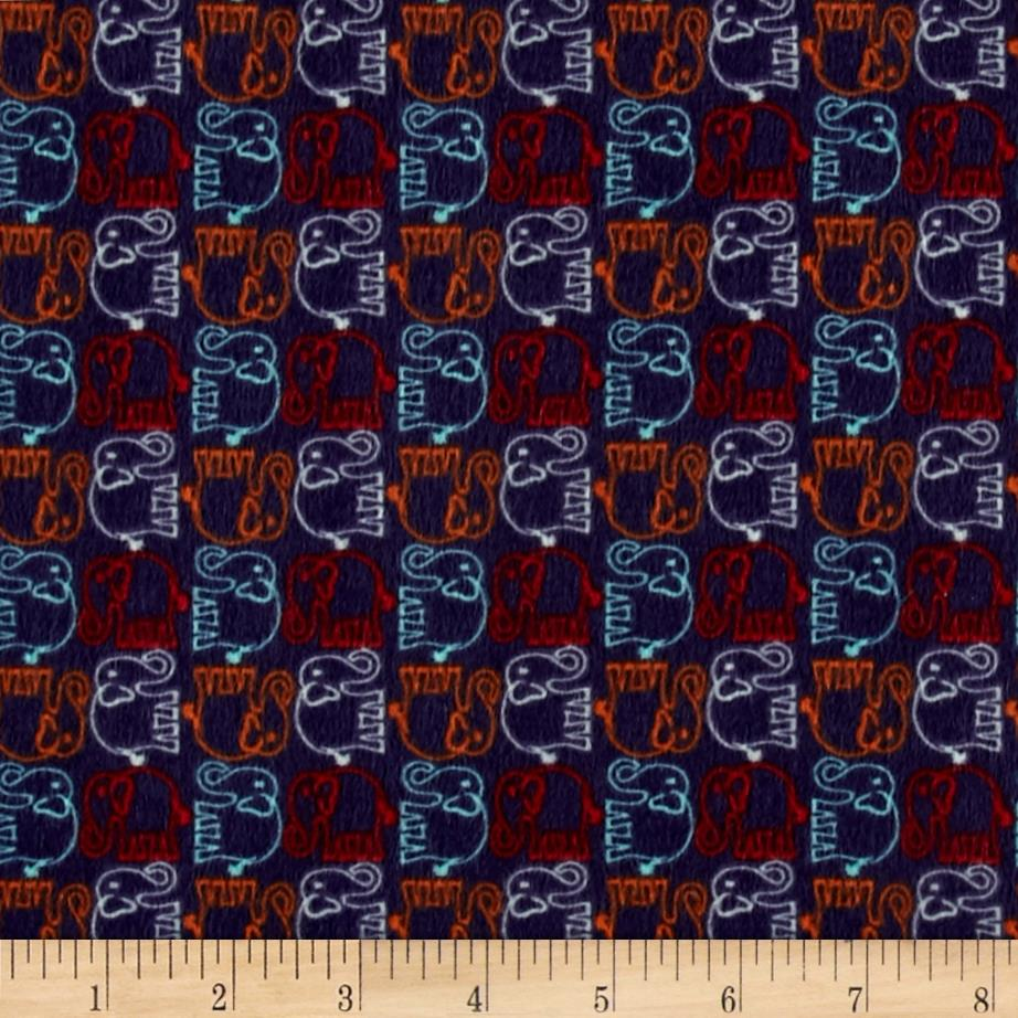 Valori Wells Bridgette Lane Elephants Flannel Purple Fabric By The Yard