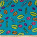 Newcastle Fleece Prints Lips Turquoise