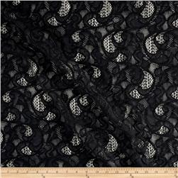 Italian Designer Heavy Weight Knit Lace Flourish Black