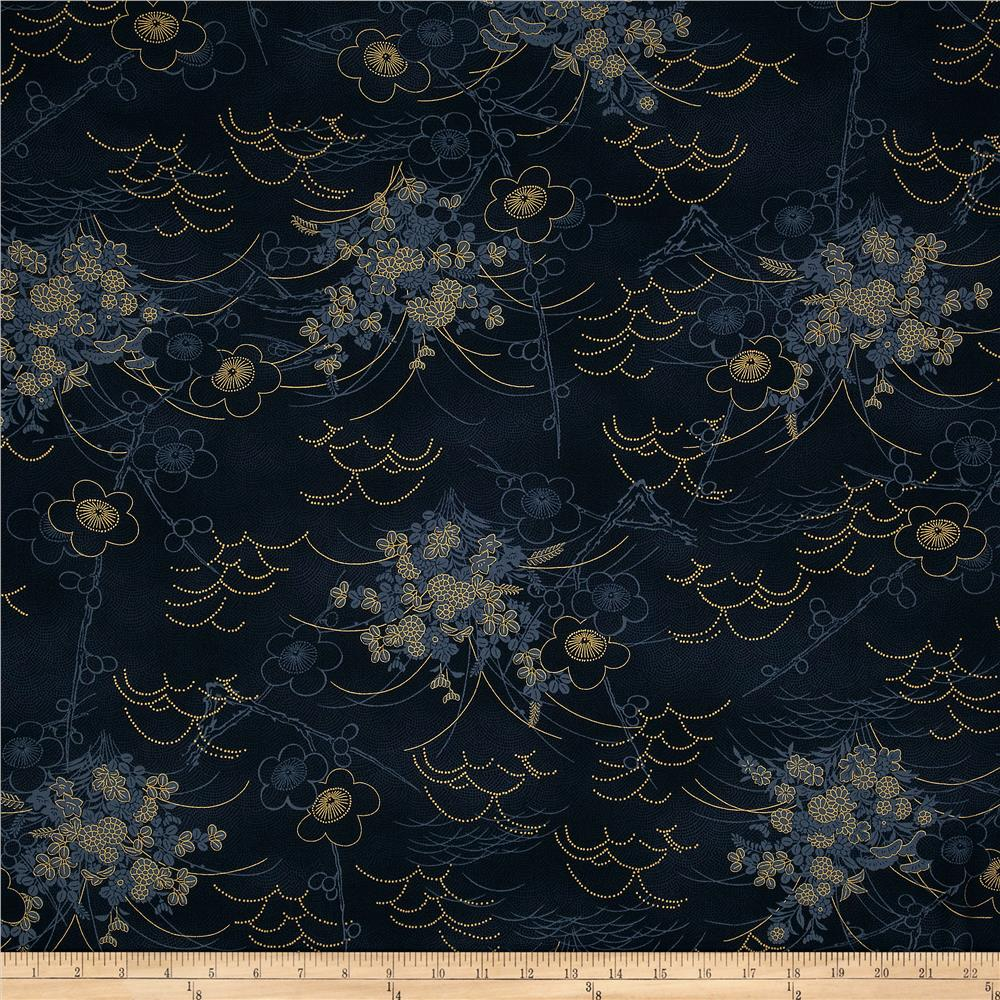 Asuka Metallic Asian Toile Indigo/Gold