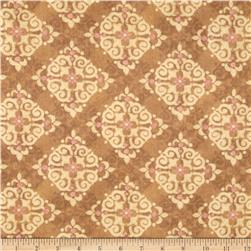 Velvet Blossoms Flannel Diamond Medallions Brown