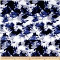 Bloom Stretch Cotton Sateen Brush Strokes Print Blue