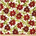 Winter Blossom Metallic Large Poinsettia Natural/Gold