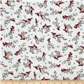 Frolic in the Snow Flannel Cardinals White