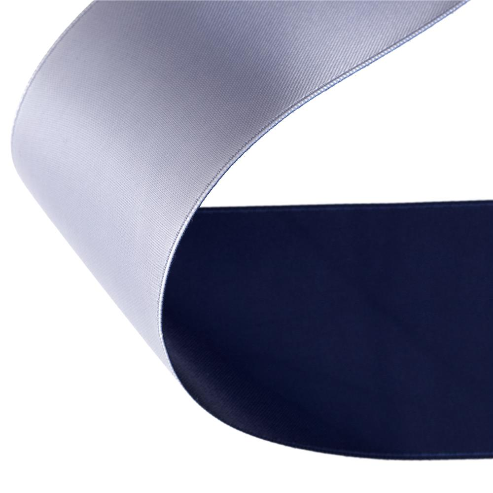 "2"" Satin Reversible Ribbon Navy/Silver"