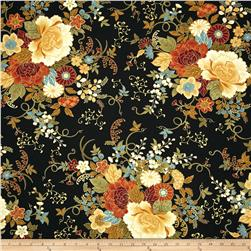 Timeless Treasures Kyoto Blossoms Metallic Large Peonies Black