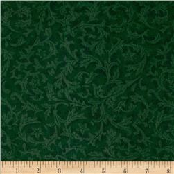 110'' Wide Flannel Quilt Backing Leaf Emerald