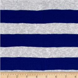 Lightweight Sweater Knit Burnout Stripe Royal/White