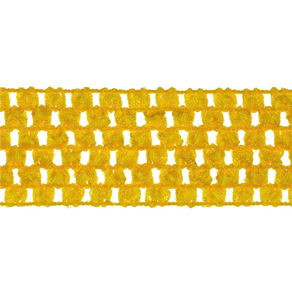 "1 3/4"" Crochet Headband Trim Yellow"