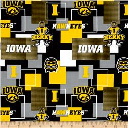 Collegiate Cotton Broadcloth University Of Iowa Block Print Black