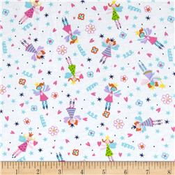 Cotton Jersey Knit Rainbow Fairy Multi/White