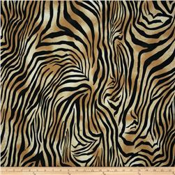 Spandex ITY Jersey Knit Zebra Gold/Black Fabric