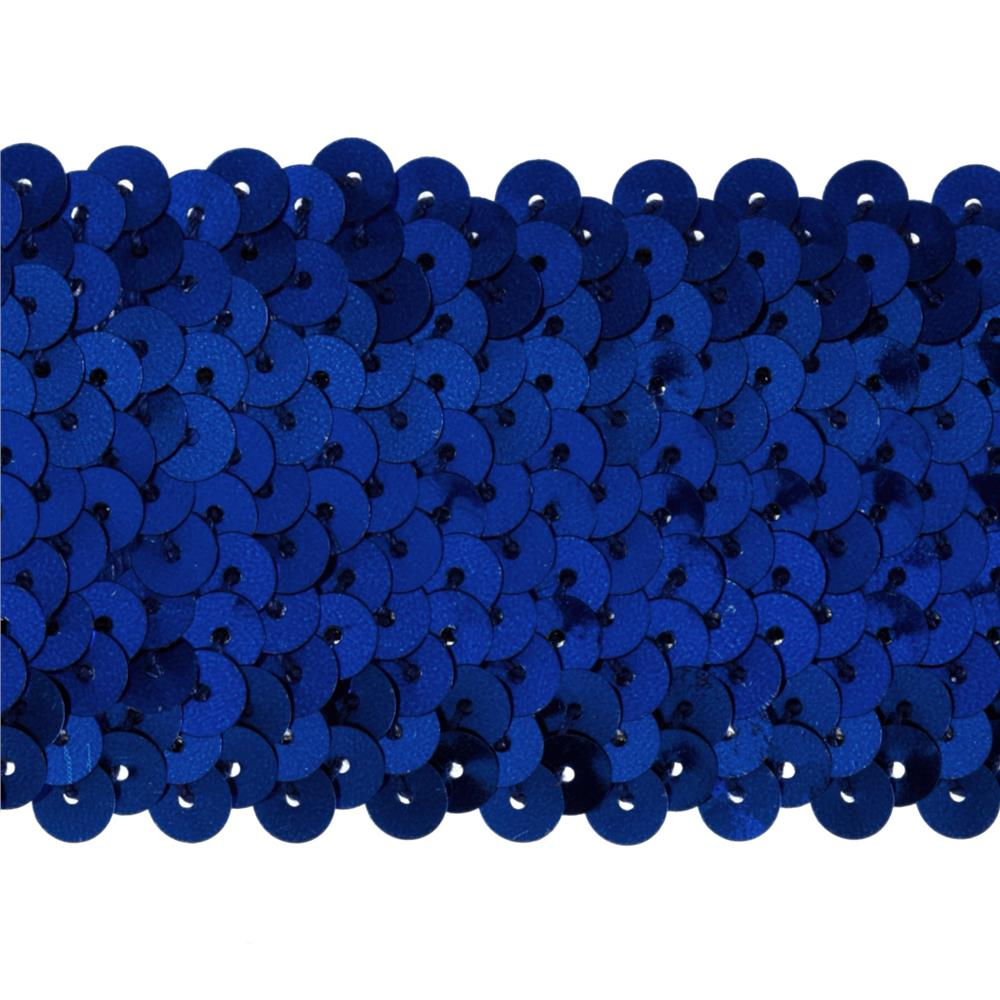 "1 3/4"" Metallic Stretch Sequin Trim Royal Blue"