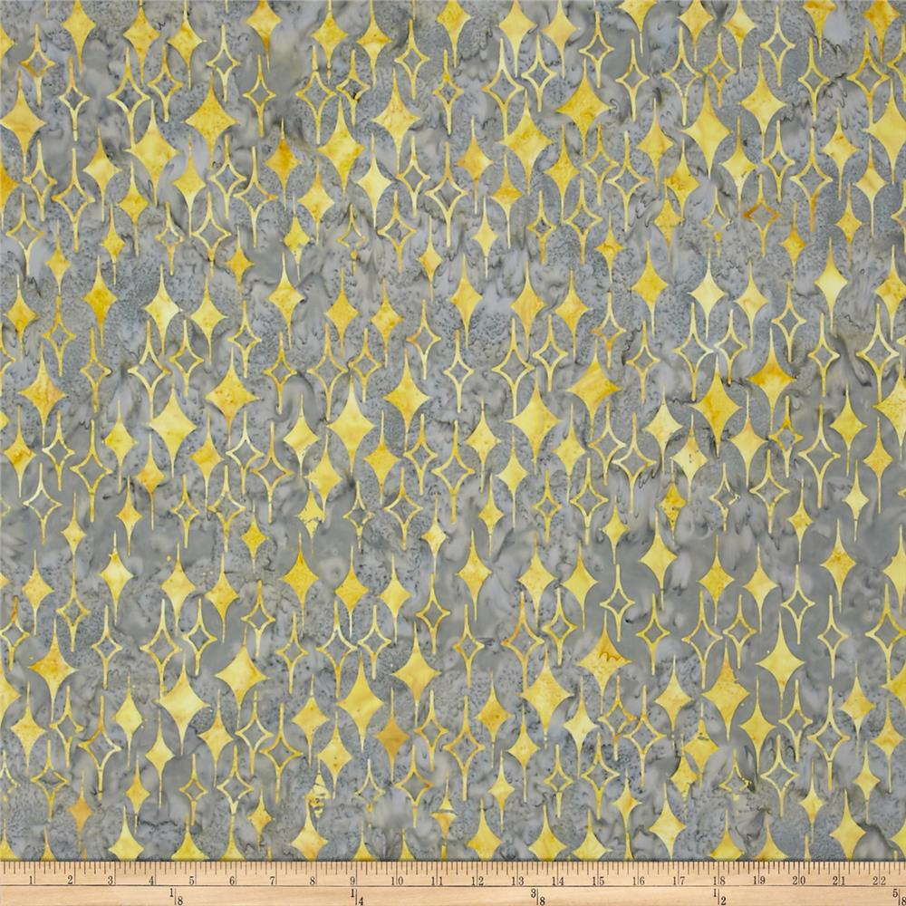 Island Batik 60's Diamonds Yellow/Gray