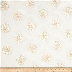 Starlight Metallic Flower Elegant Taffeta Ivory Fabric