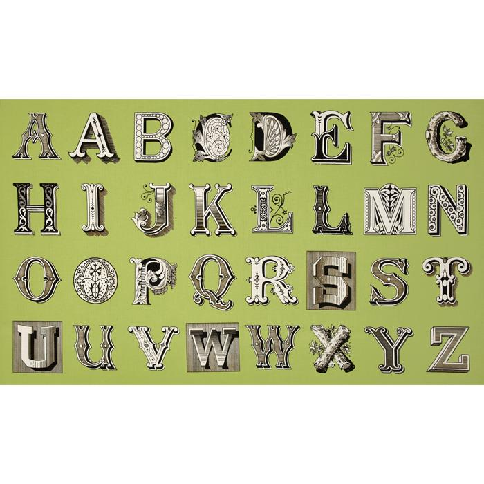Letter Stitch Large Antique Typography Green