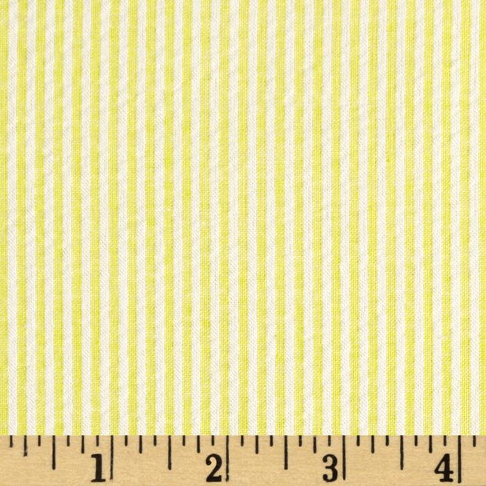 Cotton Seersucker Stripe Yellow/White - Discount Designer Fabric ...