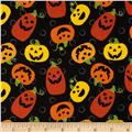 Halloween Night Pumpkins & Dots Black