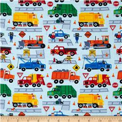 Timeless Treasures Traffic Jam Trucks Sky Fabric